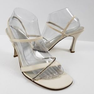 BP Sparkle Strappy Fabric Heel Square Toe Ivory 10